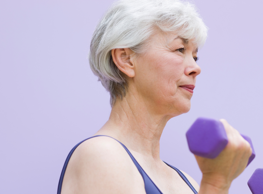 Elderly Asian woman working out to prevent heart failure